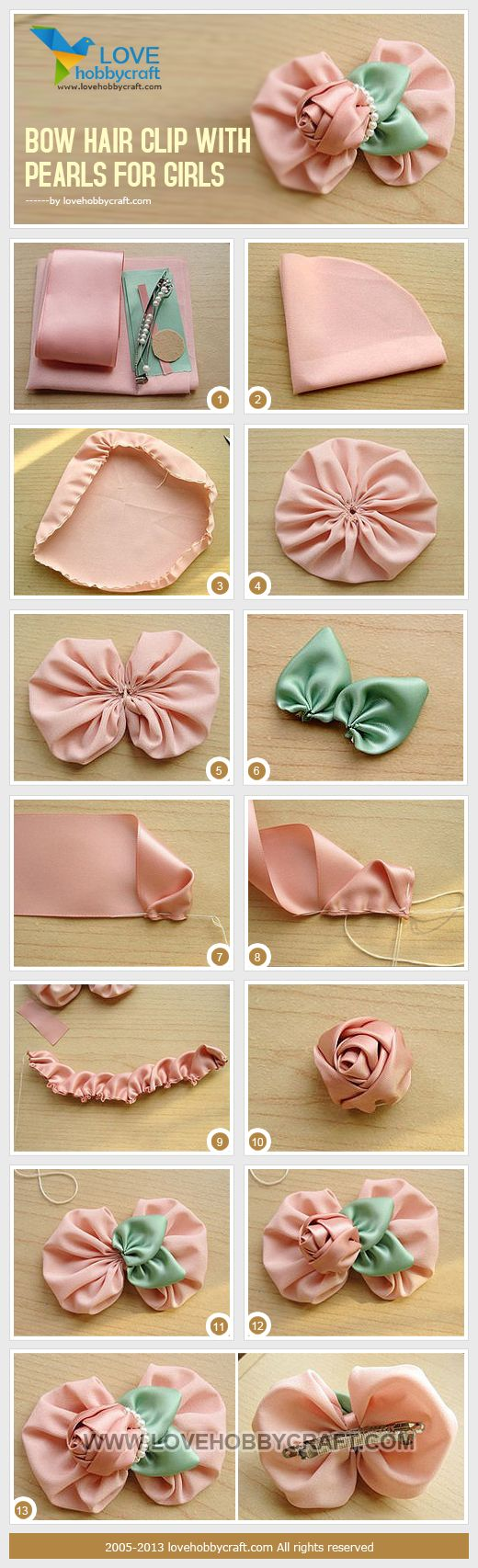 Bow hair clip with pearls for girls