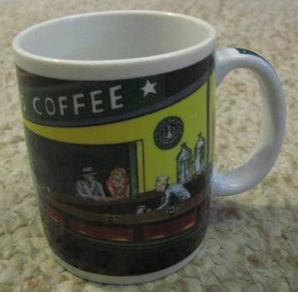 Starbucks Coffee Mug Cup Edward Hopper D. Burrows Chaleur Diner Scene 12 oz.