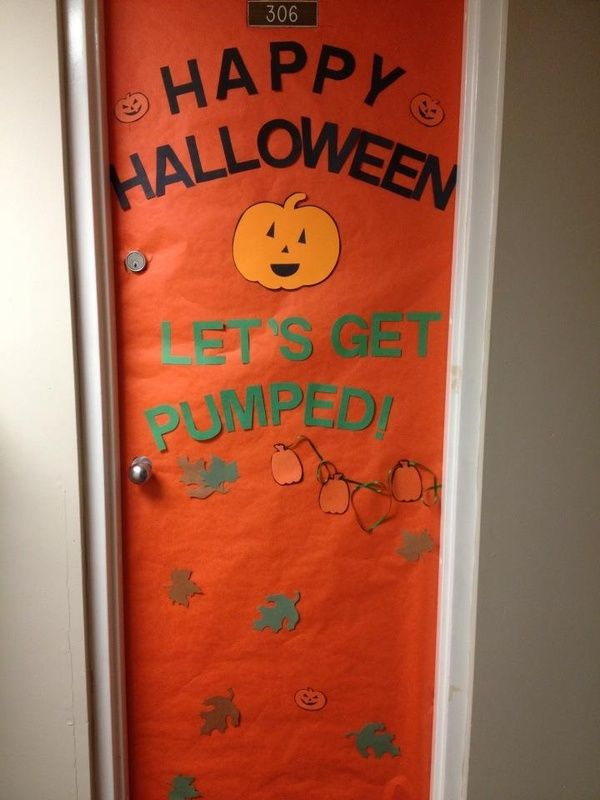 Excited about halloween by decorating their dorm room doors like this