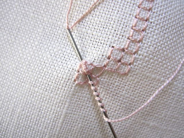 bullion knot inside a 4 sided stitch