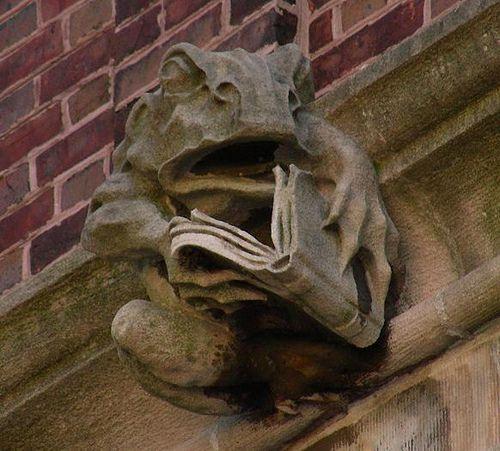 Literate frog gargoyle