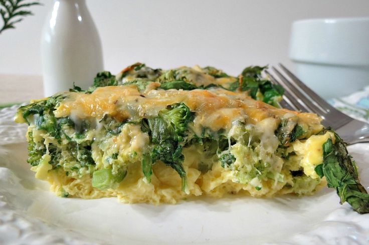Broccoli and Cheese Egg Bake - low carb - I could see fresh mushrooms ...