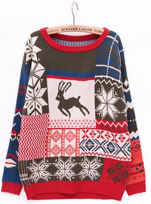Crew Neck Christmas deer Sweater Gray $52.00