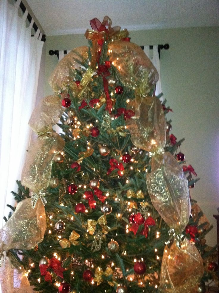 Christmas tree decorations with mesh - photo#15