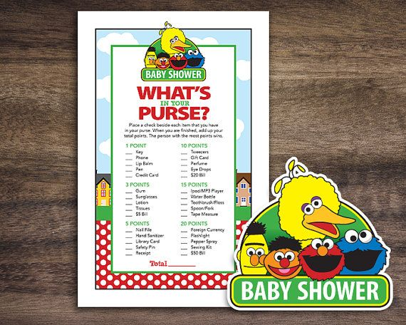 instant download sesame street baby shower what 39 s in your purse game