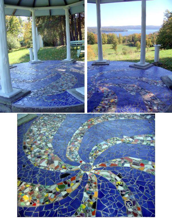 Mosaic gazebo patio floor tile mosaics pinterest - Basics mosaic tiles patios ...