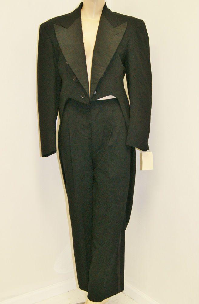 Vintage 1930 s mens wide lapel black tuxedo tails jacket pants suit