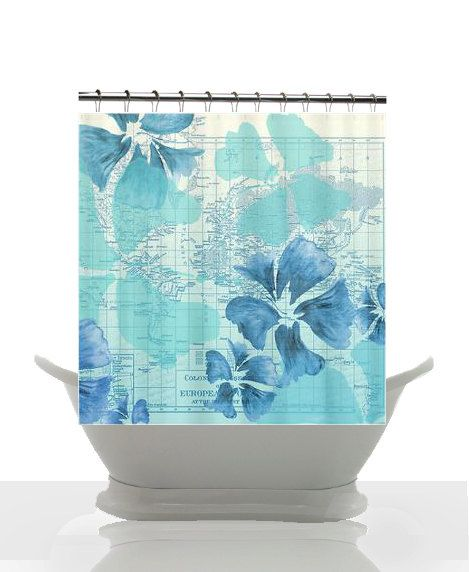 beach house shower curtain hibiscus flower power maps and travel d