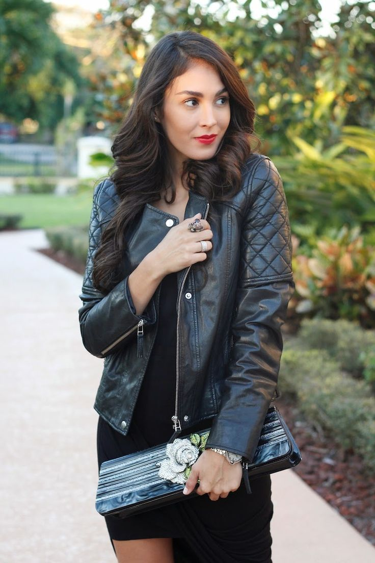 Leather jacket, red lips