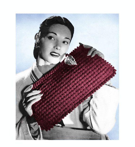 Bubnut Crochet Patterns : Vintage 1940s Crochet Pattern Envelope Clutch Purse Handbag Digital D ...