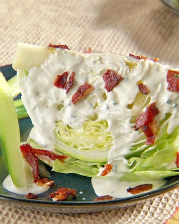 wedge salad with green goddess ranch + bacon