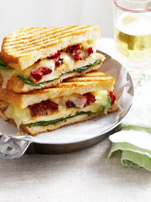 Chicken and sun-dried tomato panini sandwich with spinach (for a nod ...