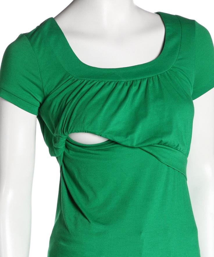 Green Scoop Neck Nursing Top