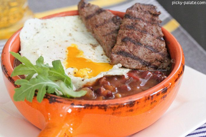 Ancho Grilled Breakfast Steak Over Fried Egg And Beans Recipes ...