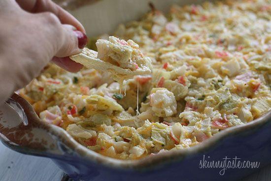 Hot and Cheesy Crab and Artichoke Dip | Skinnytaste
