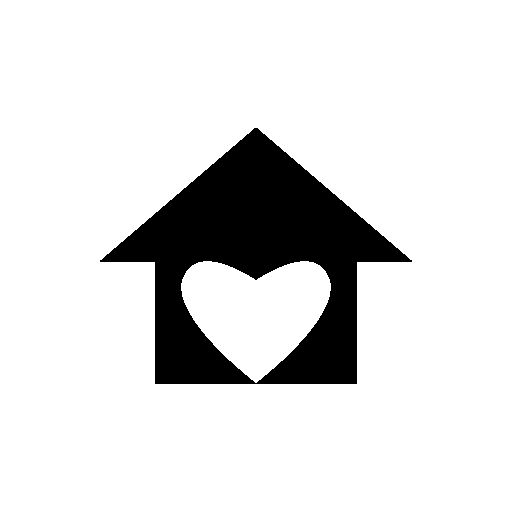 House with love heart shape free icon