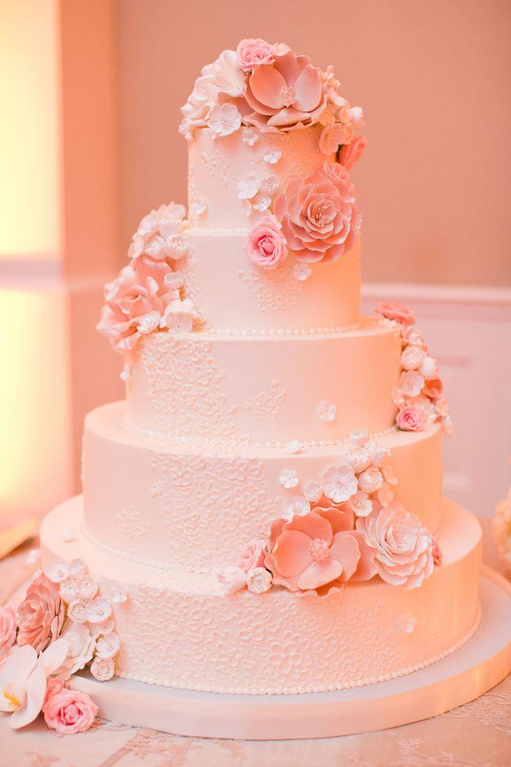 Peach Wedding Cake Can I Get Some Cake Pinterest