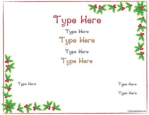 Printable Christmas Gift Certificate Template - Christmas blank gift certificate template free