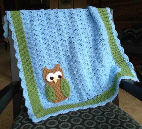 Little Hoot the Owl Crochet Baby Blanket por 3LittleLambsCrochet