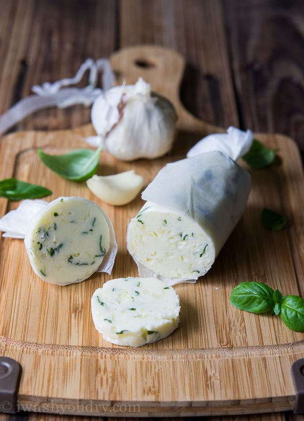 Garlic and Basil Compound Butter - perfect for topping a steak, corn ...