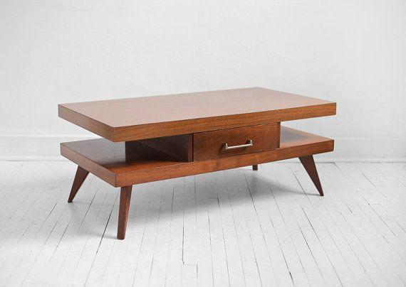 Vintage mid century coffee table wood side table by hindsvik 145 00