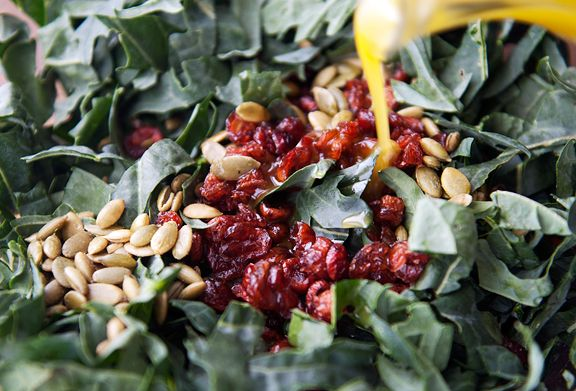 kale pepita cranberry salad recipe | use real butter - Today's lunch