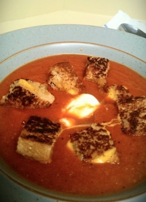 Homemade Tomato Soup with Grilled Cheese Croutons http://media-cache4 ...