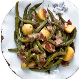 Smothered Green Beans with New Potatoes.