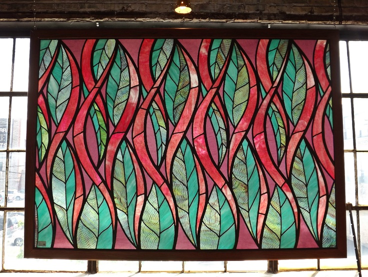 Extra Large Contemporary Stained Glass Window Leaf Pattern ...