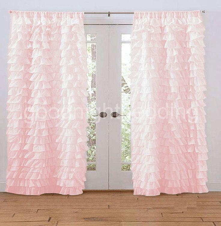 New egyptian pink ruffled curtains rod pocket waterfall ruffle drapes