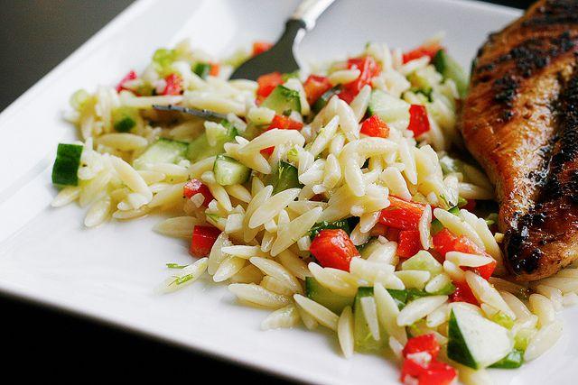Lemony Orzo Veggie Pasta Salad | recipes | Pinterest