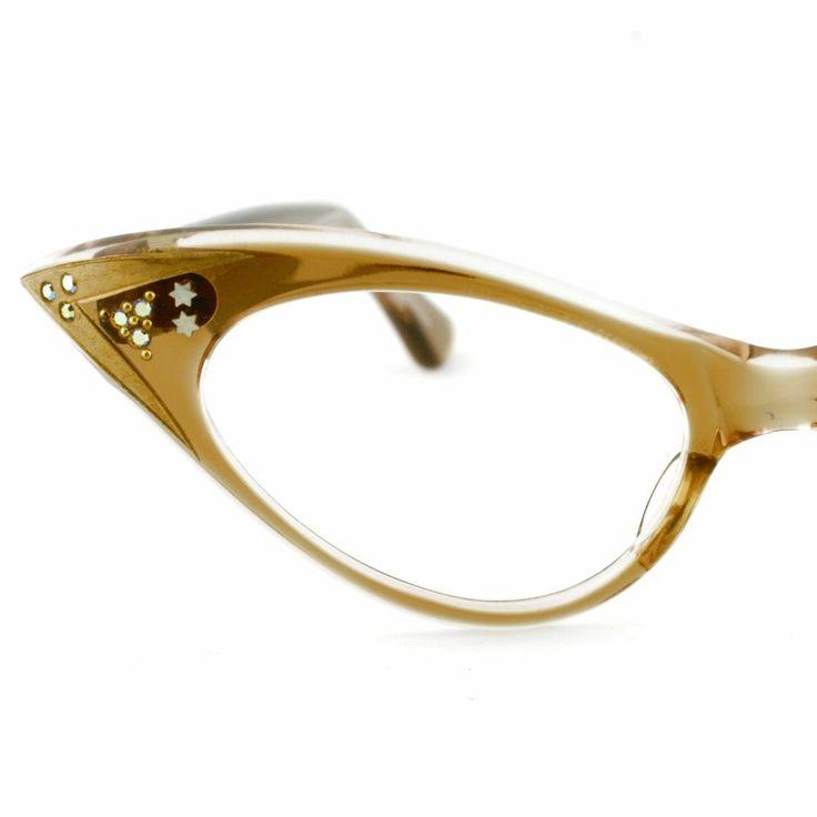 Vintage Women Small Brownsmoke Cat Eyeglass Frames France ...