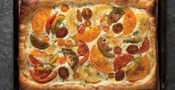 Tomato tart for summer food. Check the crust 5-10 minutes before ...
