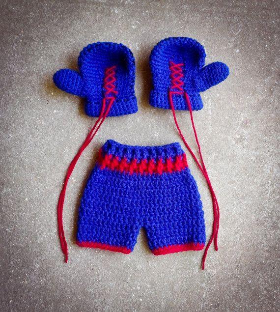 Knitting Pattern Boxing Gloves : Boxing gloves shorts set trunks Crochet Boxer set newborn 0 3 , 3 6,
