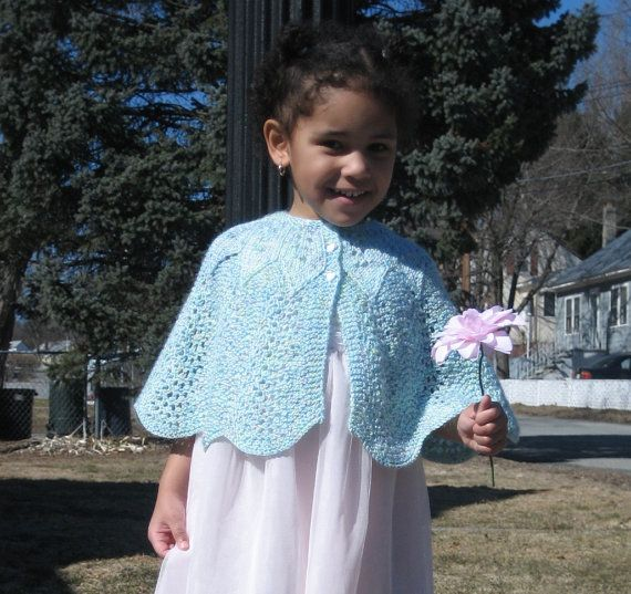 PATTERN for Childs Knitted Feather and Fan Cape