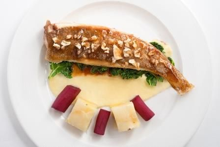 Spring Rosemary Shrager menu 2014  - Lemon sole with lobster glace and artichoke puree