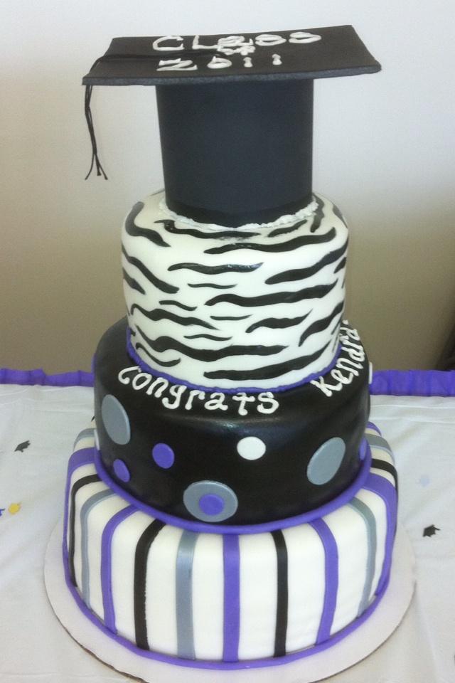 Purple Zebra Cake Design : Graduation purple and zebra cake bakery items Pinterest