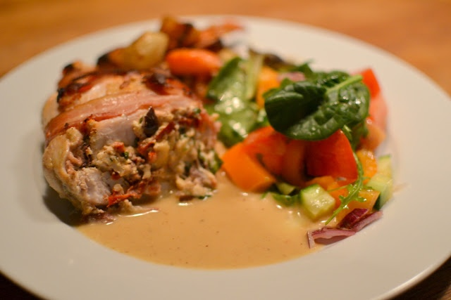Stuffed Mediterranean style Chicken Breast with roast vegetables and a ...