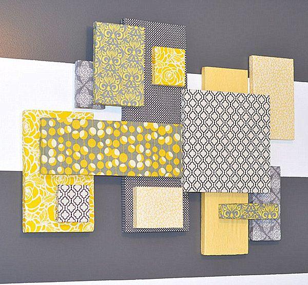 Styrofoam and fabric DIY wall art