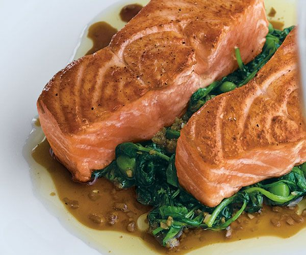 Seared Salmon with Sauteed Pea Shoots and Ginger-Soy Vinaigrette