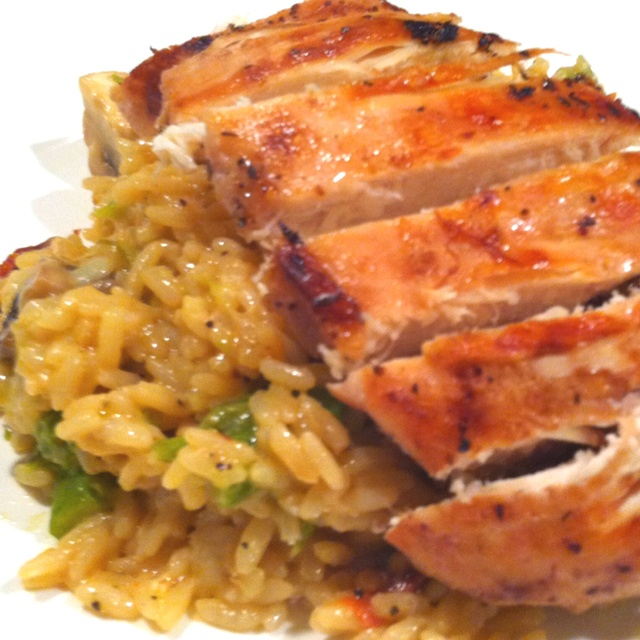 Chicken, mushroom, and asparagus risotto | Food | Pinterest
