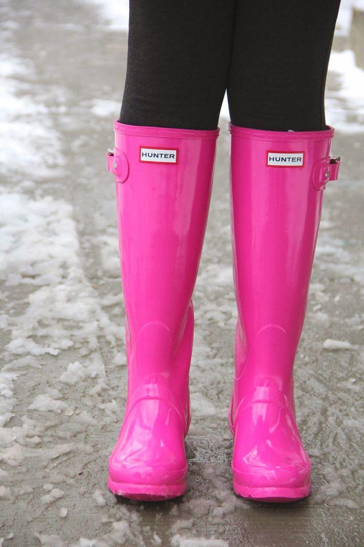 hot pink hunter boots shoesss pinterest