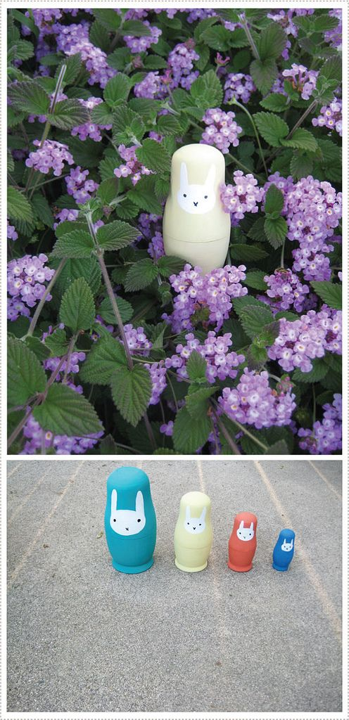 Hand painted bunny stacking dolls to hold Easter candy. Hide them in the bushes and have the Littles hunt away!