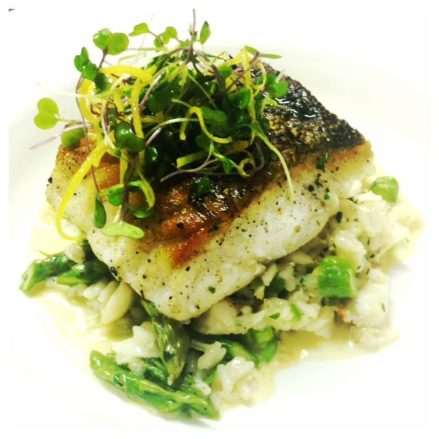 Pan-seared Cod, lemon & asparagus risotto, jumbo lump crab meat & fis...