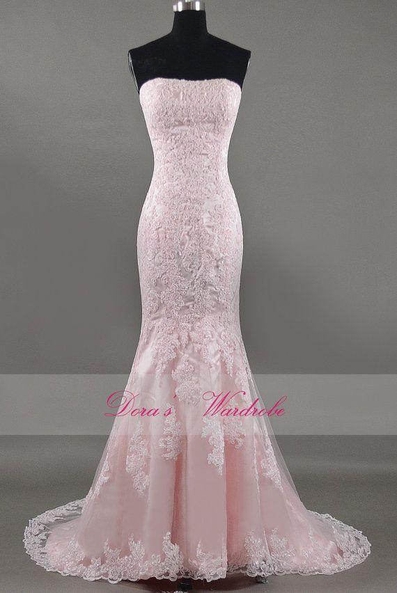 Elegant mermaid pink lace wedding dress strapless wedding for Pink lace wedding dresses