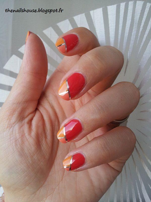 nail art rouge orange | Our Nail Art | Pinterest