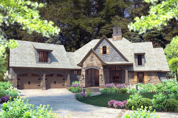 Cottage craftsman french country house plan 75134 for French cottage floor plans