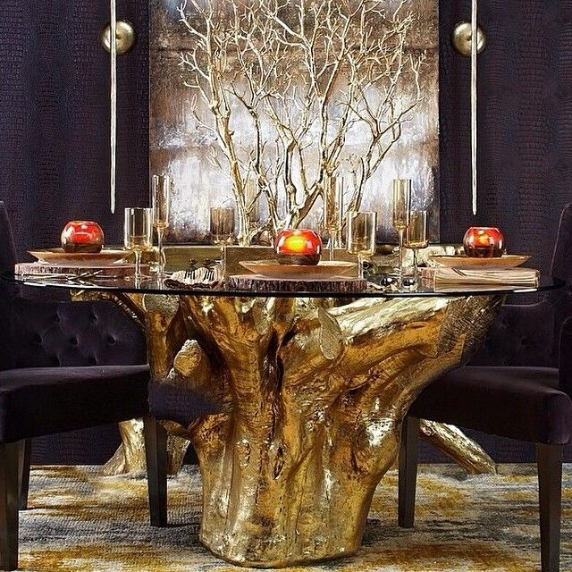 Pin by lynette horne campbell on glimmer and gold pinterest for Tree trunk dining room table