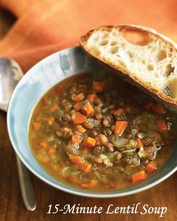 15 Minute Lentil Soup | Skinny! | Pinterest