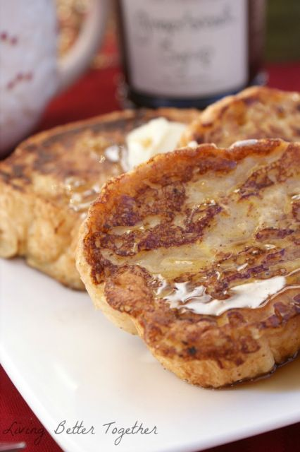 Eggnog French Toast with Gingerbread Syrup - Living Better Together